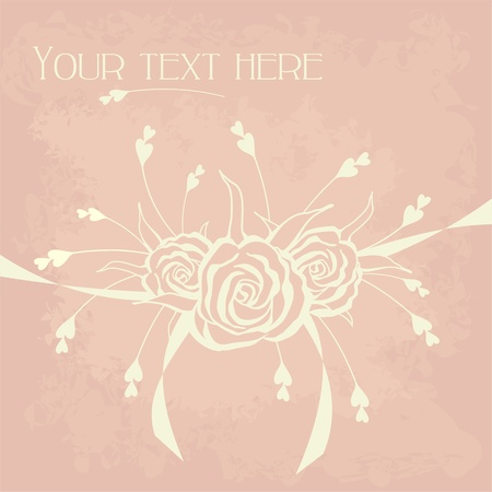 greeting card  with roses and hearts on vintage background Vector