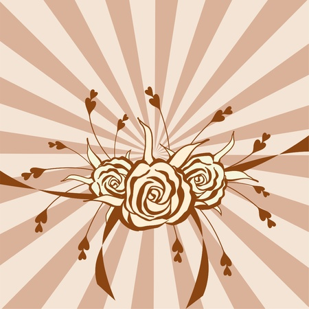 hand drawn beige and brown roses on background with brown  stripes Vector