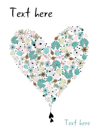 corazones azules: Coraz�n de estilo vintage hecha de dibujado a mano los elementos florales sobre fondo blanco