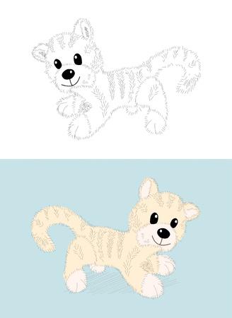 Vector cartoon kitten, or little tygr - coloring book Stock Vector - 11661243
