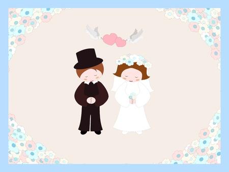 verlobt: Hochzeitspaar Illustration