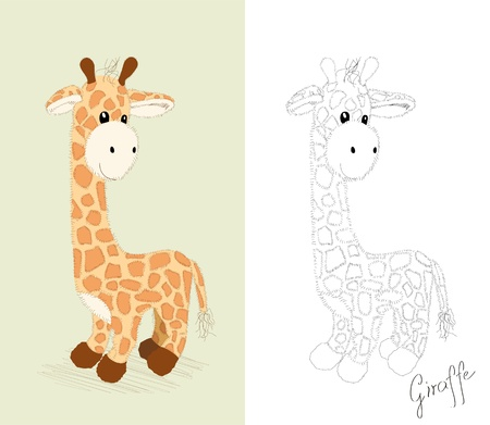 Hand drawn toy -  little giraffe - coloring book