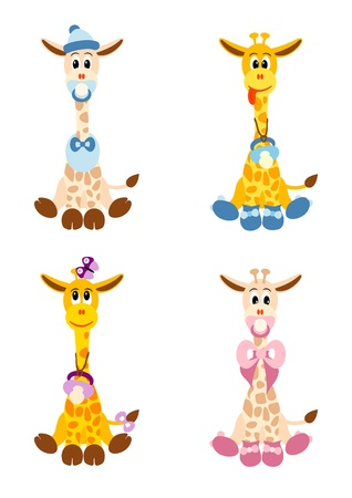 illustration of four little cute giraffes stylized like newborn children -  isolated  on white background Illustration