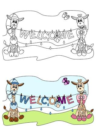 """illustratie van twee schattige giraffen gestileerde als pasgeboren baby's houden waslijn met de tekst """"WELCOME"""" - kleurboek voor kinderen"""