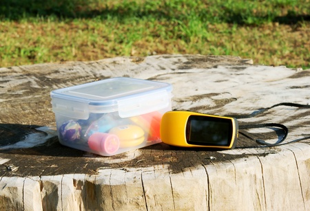 geocaching concept with geocache and GPS in nature Stock Photo - 11661100