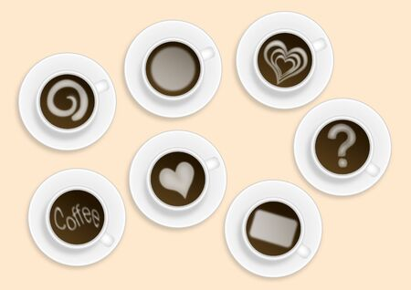 bitmap illustration of six coffee cups with various white milk ornaments - heart, leaf, circle, question mark Stock Illustration - 11661120