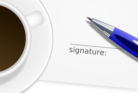 affirm: bitmap illustration - Sheet with empty signature, blue ballpoint and white cup of coffee