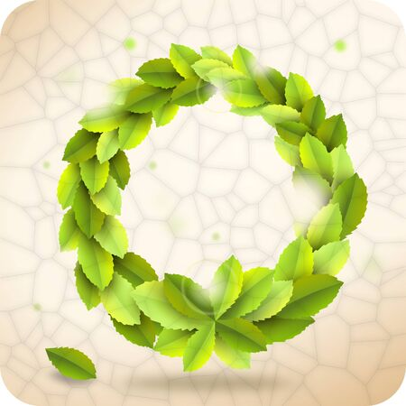 glow stick: Wreath from green leaves on vintage background Stock Photo