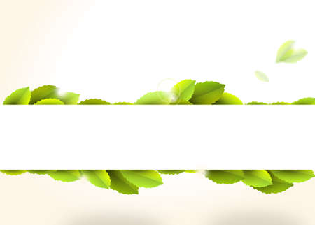 glow stick: Banner with green leaves on vintage background - illustration