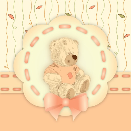 cartoon bear: bitmap illustration of cute teddy bear on decorative orange and yellow background with ribbon - birthday invitation