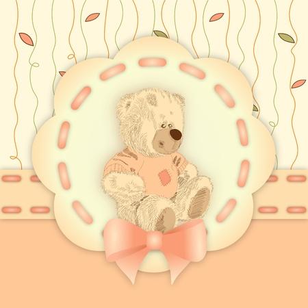 cachorro: ilustraci�n de mapa de bits lindo oso de peluche en el fondo decorativo de color naranja y amarillo con cinta - invitaci�n de cumplea�os