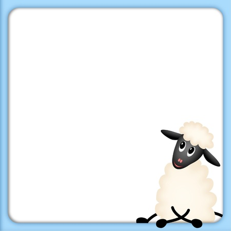 bitmap illustration of cute little sheep on white background in blue border illustration