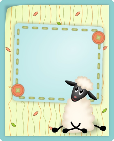 bitmap illustration of cute young sheep on decorative background - birthday invitation illustration