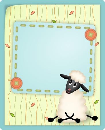 lamb cartoon: bitmap illustration of cute young sheep on decorative background - birthday invitation