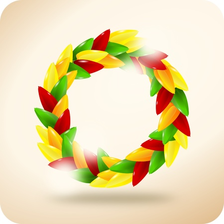 squalid: Wreath from colorful paprika on vintage background - illustration