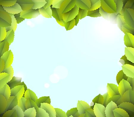sumer: blue sky in heart frame from green leaves with reflections - illustration