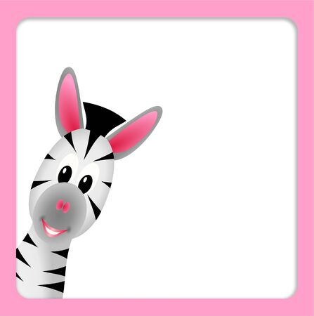 bitmap illustration of cute little zebra on white background in pink border illustration