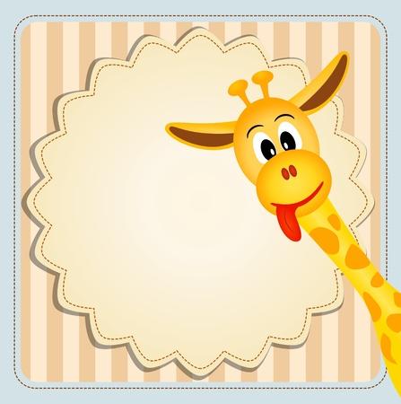 jirafa caricatura: ilustración de mapa de bits de jirafa linda joven en el fondo decorativo - invitación de cumpleaños Foto de archivo