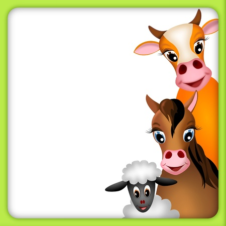 farm animal cartoon: cute brown cow, horse and white sheep in empty frame with green border - illustration