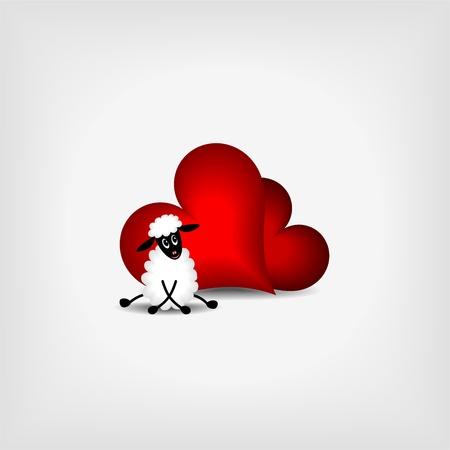 Zwei rote Herzen und süße Lamm auf grauem Hintergrund - vector llustration Vektorgrafik