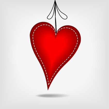 sewed: hanging red heart with white stitches on gray background - vector illustration