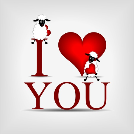 funny love: red heart with text &quot,I love you&quot, and beatiful cute sheep Illustration