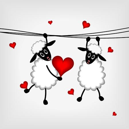 liefde: twee schapen opknoping op waslijn en holdin rood hart - vector illustratie