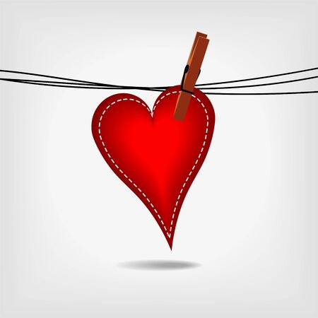 red heart hanging on washing line on gray background Stock Vector - 11814775