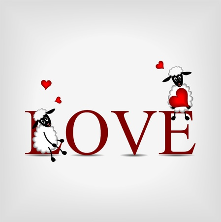 Red word love with two comic beautiful sheep an little red hearts on gray background Ilustrace