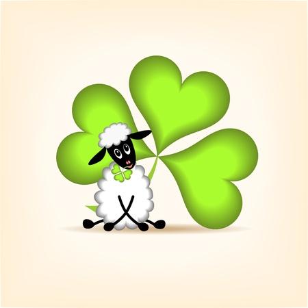 irland: Vektor llustration von niedlichen Lamm und gr�nen Kleeblatt Illustration