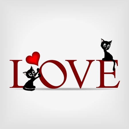 grey cat: Red word love with two comic beautiful kittens an little red hearts on gray background Illustration