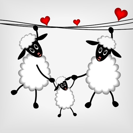 parents and children: Two sheep and litle lamb hanging on washing line - vector illustration