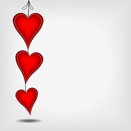 sewn: hanging red three red hearts with white stitches on gray background - vector illustration
