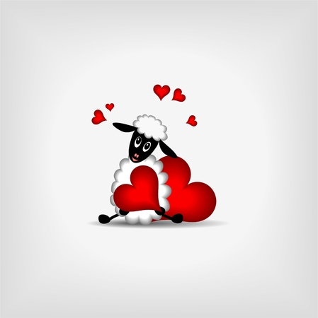 ram: cute lamb holding red heart on gray background - vector llustration