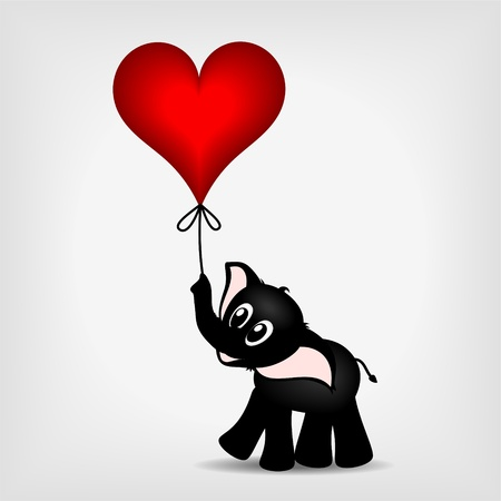 black baby elephant holding red heart - balloon - vector illustration