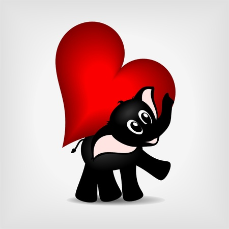black baby elephant carrying big red heart -  vector illustration Vector