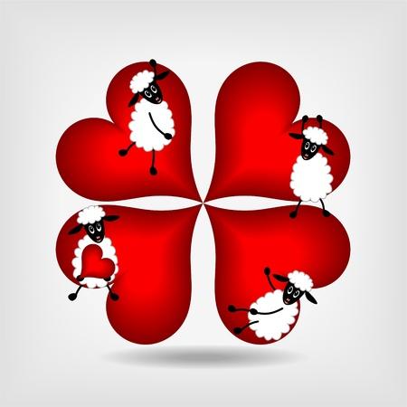 carnero: cuatro corazones rojos y cuatro ovejas lindo sobre fondo gris - ilustraci�n vectorial