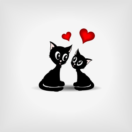 funny love: Two cute black kittens with two red hearts on gray background - vector illustration