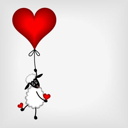 palloncino cuore: agnello carino appeso al cuore rosso - palloncini - illustrazione vettoriale