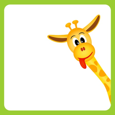 animal tongue: cute little giraffe on white background in green border - vector illustration Illustration