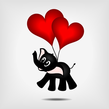 black baby elephant hanging on two red hearts - balloons - vector illustration Vector