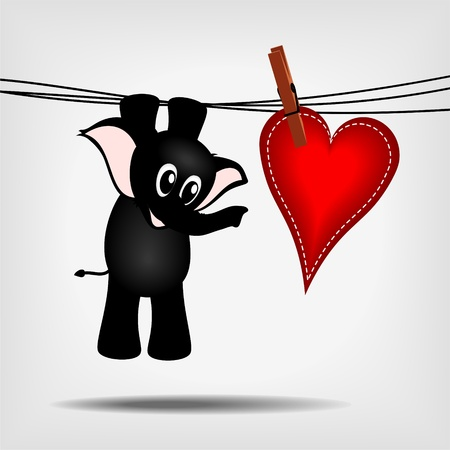 black cartoon baby elephant hanging on washing line with big red heart - vector illustration Vector