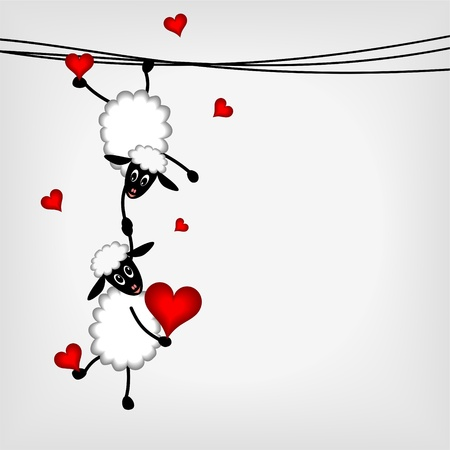 Two sheep and little lamb hanging on washing line - vector illustration Çizim