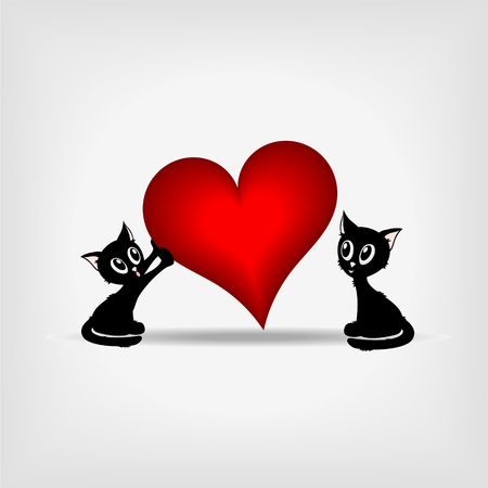 beautiful black kitty holding tilted big red heart on gray background - vector illustration