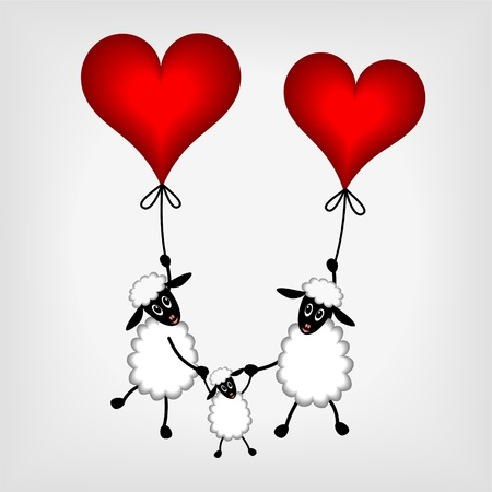 Two sheep and little lamb hanging on red balloons - hearts on gray background - vector illustration