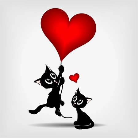 grey cat: two black kittens, beautiful black kitty hanging on red heart - balloon on gray background - vector illustration