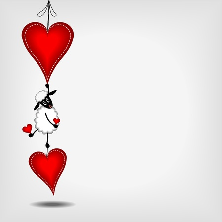 opknoping twee rode harten met witte steken een schattige witte schapen op een grijze achtergrond - vector illustratie