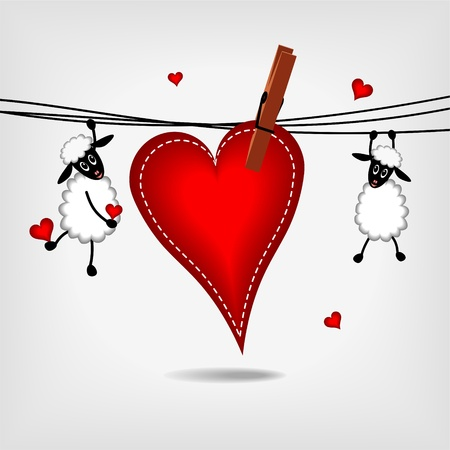 sewn: two cute sheep hanging on washing line with big red heart on gray background - vector illustration