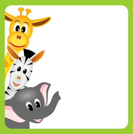 little giraffe, elephant and zebra on white background in green border - vector illustration Vector
