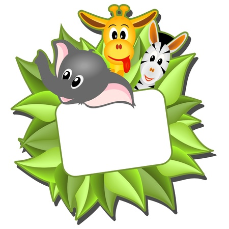 safari: little cartoon elephant, giraffe and zebra with empty card on background from green leaves - vector illustration Illustration